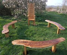 Natural wood outdoor seating:  Playground Oak Story Telling Bench
