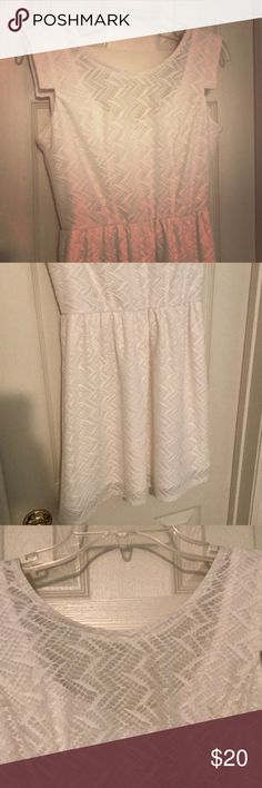 Pure White Short Dress with Gold zipper Size: 3 Beautiful pure white lacey dress with a gold zipper detailing on back. Sleeveless with small cuff detailing. Brand is not xhileration (its by Lots of Love)  but it is from target! Xhilaration Dresses Mini