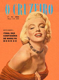 O Cruzeiro - November 7th 1953, magazine from Brazil. Front cover photo of Marilyn Monroe by Frank Powolny, 1953.
