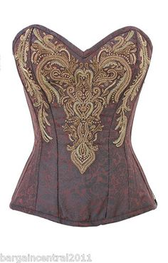 Brown Brocade Pattern Steel Boned Corset with Intricate Gold Embellishment | eBay