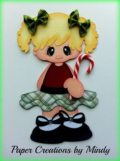 ELITE4U Christmas lollipop girl  premade paper piecing scrapbooking page border ~ Paper Creations by Mindy