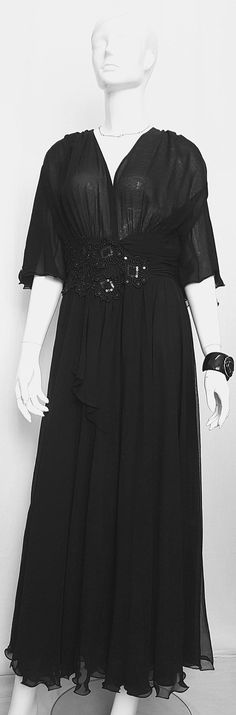 Vintage Does YVETTE Black Chiffon Gathered Long Mid to Ankle Length Gown w Bell Sleeves & Sequinned Lace Embellished Waist Detail Flattering Dresses, Feminine Dress, Gathered Skirt, Black Sequins, Ankle Length, Bell Sleeves, Chiffon, Ruffle Blouse, Gowns