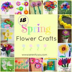 18 spring flower crafts to make and do - serenity you - Featured at the Home Matters Linky Party 225 Tissue Paper Flowers, Felt Flowers, Crochet Flowers, Spring Flowers, Crafts To Make, Fun Crafts, Summer Crafts, Preschool Crafts, Decor Crafts