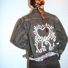 Hand painted jean jacket by Lizzie Zulauf *Keith Haring