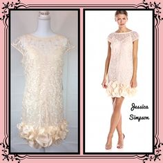 Jessica Simpson Lace Ruffle Hem Midi Dress  2 piece dress, embroided gauzy material. Is size 10 but can also fit an 8. My Mannequin wears size 0.   Is about 1 1/2 to 2 inches above the knees. (3-4 fingers) Please see pictures for more information. Jessica Simpson Dresses Midi
