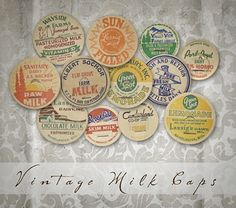 Free Printable Vintage Milk Caps also have a Free .png format Milk Caps these come in a 8x10 sheet and are for your digital scrapbooking or hybrid layouts also great for cards and mixed media