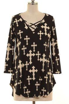 Black Cross Print Blouse