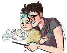 Harry Potter and Teddy Lupin by artofpan