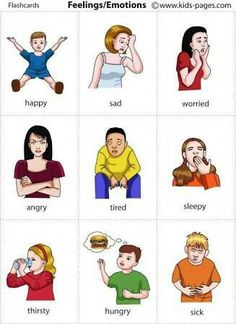 Feelings Flashcards - Use to help A be able to express how he is feeling rather than rage all the time. If you find this info graphic useful, please share, like or pin it for your friends. English Resources, English Tips, English Activities, English Lessons, Learn English, Vocabulary Activities, French Lessons, Spanish Lessons, Preschool Worksheets
