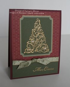 handmade Christmas card ... elegant look ... gold heat embossed swirly tree ...