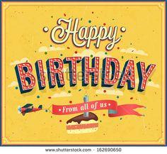 Happy birthday typographic design. Vector illustration. - stock vector
