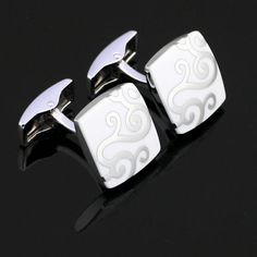 X-006-Stainless-Steel-Silver-Toned-Enamel-Wedding-Cufflinks-Gift-Box-Free-S-H