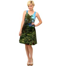 Retro Style Green & Blue Scenic Forest Flare Dress