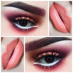 Classic smokey dark blended eye makeup color, colorful eyeshadow, black eyeliner wing, eyebrow shape/ brows, highlights/ lowlights contour, airbrush effect, lips, deep peach pink lipstick tone