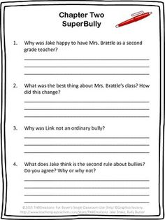 Jake Drake, Bully Buster: Jake Drake, Bully Buster by Andrew Clements is a great story that your students will enjoy reading!  In this product you will receive printable worksheets that can be made into a booklet including a cover page, chapter-by-chapter reading comprehension questions, a worksheet reviewing characters, setting, problem, solution, and summary, a my rating page, and an unscramble worksheet.