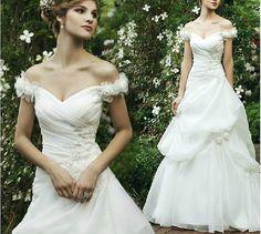 Custom Off Shoulder Sweetheart neckline  Lace Tulle Wedding Dress/Bridesmaids Dress/Prom Dress/Evening Dress K112
