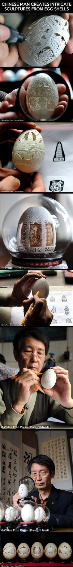 amazing intricate easter egg art sculptures , how does he manage to make such detailed designs Intricate sculptures from egg shells…