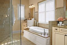 Two vanities and a divided walk-in closet keep morning and evening routines running smoothly. Here the vanities are split by the tub keeping the plumbing lines grouped together.