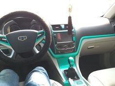 I spent $15 to change my car interior into my favorite tiffany blue! Pin if you like it.
