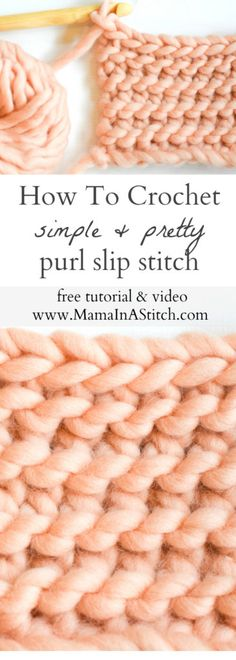 A free crochet stitch tutorial for the beautiful purl slip stitch, which looks a lot like knitting. Includes the free pattern and video tutorial. A free crochet stitch tutorial for Crochet Diy, Easy Crochet Stitches, Crochet Simple, Crochet Gratis, Learn To Crochet, Crochet Ideas, Slip Stitch Crochet, Crochet Afghans, Crochet Stitches For Beginners