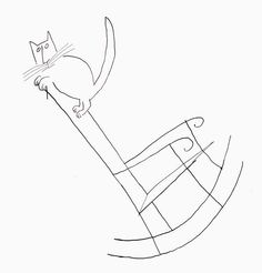 Cats in Art: Saul Steinberg - Playful Kitty Saul Steinberg, The New Yorker, 3d Drawings, Wire Art, Crazy Cats, Line Drawing, Cat Art, Illustration Art, Cat Illustrations