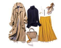 ベージュトレンチコート×紺タートル×カラースカート