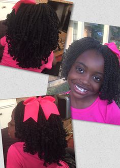 Mochi 10 inch Senegal Rope Twist crochet braids with rodded ends ( I used the very small red rods to rod the ends).  I used 6 bags & I absolutely love the way this turned out!  This is the perfect hair length for little girls!
