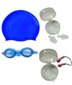 Buy Aquafit Goggles + Ear Plugs + Nose Plugs + Swimming Cap for Rs.279/-