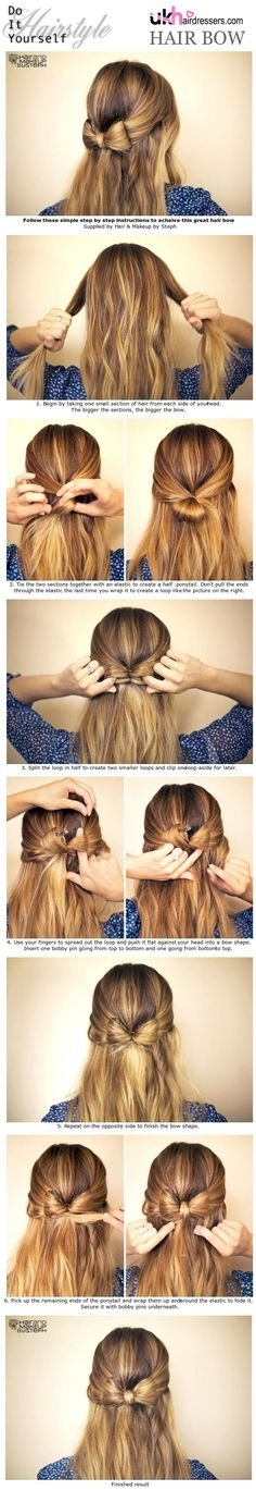 DIY Hairstyles: Hair Bow #Hair  VISIT US FOR #HAIRSTYLES, ADVICE AND TRENDING  WWW.UKHAIRDRESSERS.COM