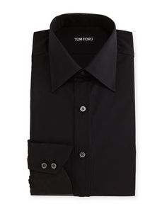TOM FORD Classic Barrel Cuff Dress Shirt, Black. #tomford #cloth #