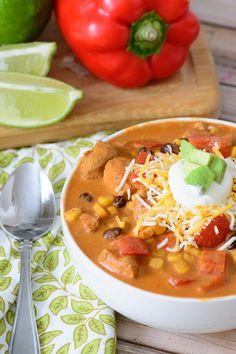 One-Pot Baja Chicken Enchilada Soup | FaveHealthyRecipes.com