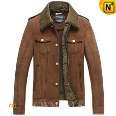 CWMALLS® Jefferson City Brown Sheepskin Jacket CW858311 - Brown sheepskin jacket with turn-down shearling collar, double flap chest pockets, side pockets and leather epaulets on the shoulder, such concise and stylish designs add more glamour to the classic jacket.