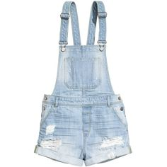 H&M Denim bib shorts ($20) ❤ liked on Polyvore featuring shorts, overalls, bottoms, rompers, light denim blue and h&m