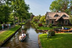 The idyllic Giethoorn has no roads or cars, and the only access to the area's quaint house...