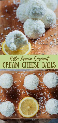 Lemon Coconut Cream Cheese Balls Make a Tasty Snack! Lemon Coconut Cream Cheese Balls Make a Tasty Snack! via Low Carb Yum Zucchini Keto Recipe, Pumpkin Recipes Keto, Zuchinni Recipes, Low Carb Recipes, Healthy Recipes, Lunch Recipes, Dessert Recipes, Dinner Recipes, Keto Foods
