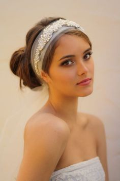Tulle Veil Head Wrap with Detachable Crystal Headband - Seen Here in Clear and Ivory Crystal with Pearl Accents