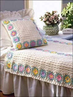 Crochet Afghan Patterns, Crochet Throw Patterns, Crochet e-Patterns - Page 5 Crochet Bedspread, Crochet Quilt, Crochet Cushions, Crochet Pillow, Crochet Home, Crochet Crafts, Crochet Projects, Crochet Blankets, Crochet Afghans