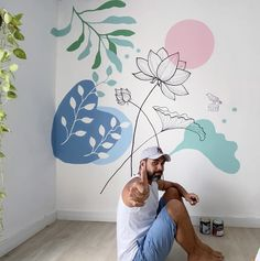 Creative Wall Painting, Wall Painting Decor, Mural Wall Art, Wall Drawing, Room Decor, Wall Decor, Room Paint, Home Interior Design, Cleaning Walls