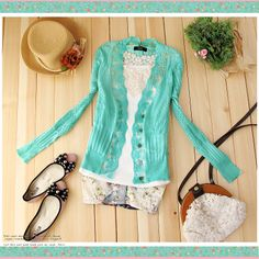 free shipping Korean lace wood ear V neck long sleeved cardigan sweater women hollow pattern outside the ride-in Cardigans from Apparel & Accessories on Aliexpress.com