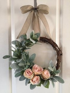 Small Lambs Ear Wreath, Spring Wreath, Year Round Wreath, Farmhouse Wreath, Ever… - country decor Diy Wreath, Grapevine Wreath, Tulle Wreath, Ribbon Wreaths, Burlap Wreaths, Wreath Ideas, Wreath Making, Year Round Wreath, Lambs Ear
