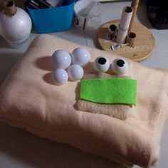 Essential supplies for making foam hand and rod puppets...Antron Fleece and eyes from Out of the Box Puppets.