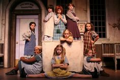 Orphan costumes for Annie.looks like old nightgowns with big loose pinafores Orphan Costume, Annie Play, Dinner Theatre, Theater, Annie Musical, Annie Costume, Theatre Costumes, Cute Poses, Press Photo