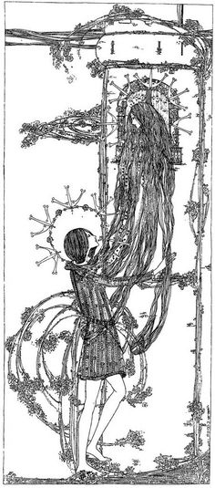Rapunzel fairy tale blog post by www.thewoodcuttersdaughter.com illustration by Jessie M. King