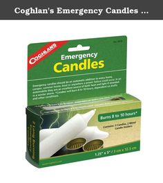 Coghlan's Emergency Candles (Bulk Pack, 160 Candles). Long burning Emergency Candles will burn 8-10 hours. They are 5 inches long and 1.5 inches thick. A good sturdy candle with metal candle holder is always good to pack along when out camping.