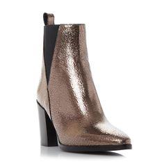 DUNE BLACK LADIES PANCRAS - V Cut Elasticated Side Panel Ankle Boot - bronze…