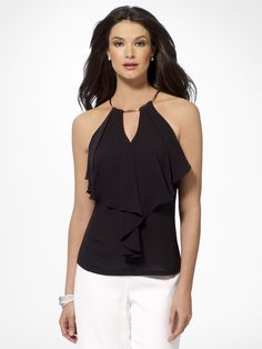 KNITS & TEES   Black Ruffle Front Halter Top   Caché