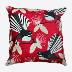 This Red NZ Fantails Cushion Cover is really pretty. Made from quality, hardwearing fabric, it features a print of New Zealand's native piwakawaka,. Cushion Inserts, Birthday Gifts For Her, Beautiful Gifts, Flirting, Mother Day Gifts, Gifts For Women, New Zealand, Great Gifts, Cushions