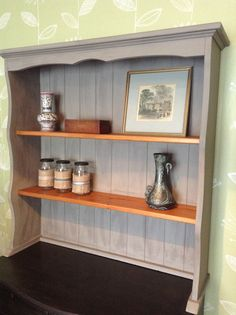 Pine dresser top with 2 shelves, Plate Grooves, Tongue and Groove back painted