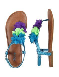 Triple Flower Glitter T-Strap Sandals | Sandals & Wedges | Shoes | Shop Justice