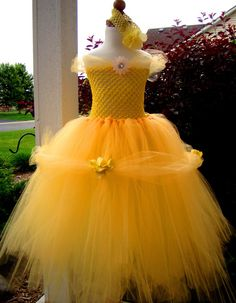 Disney Beauty and Beast Belle inspired Tutu Dress for Halloween, Pageants, Disney Trip, or for Dress Up.